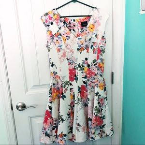 Just Taylor Pleated Fit & Flare Floral Dress 14